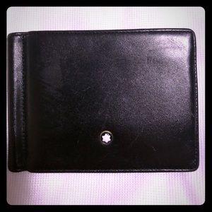Montblanc black leather wallet w/ money clip